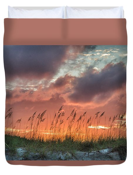 Sea Oats Sunset Duvet Cover