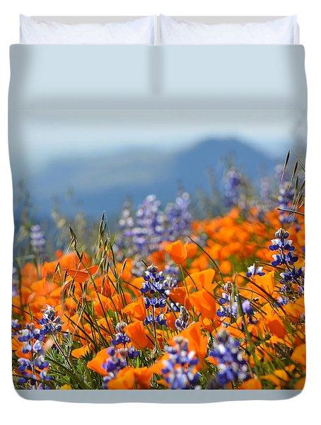 Sea Of California Wildflowers Duvet Cover