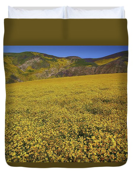 Duvet Cover featuring the photograph Sea Of Yellow Up In The Temblor Range At Carrizo Plain National Monument by Jetson Nguyen