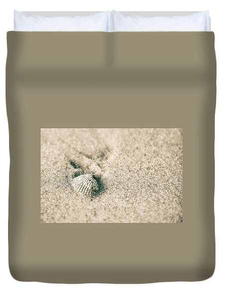 Duvet Cover featuring the photograph Sea Shell On Beach  by John McGraw