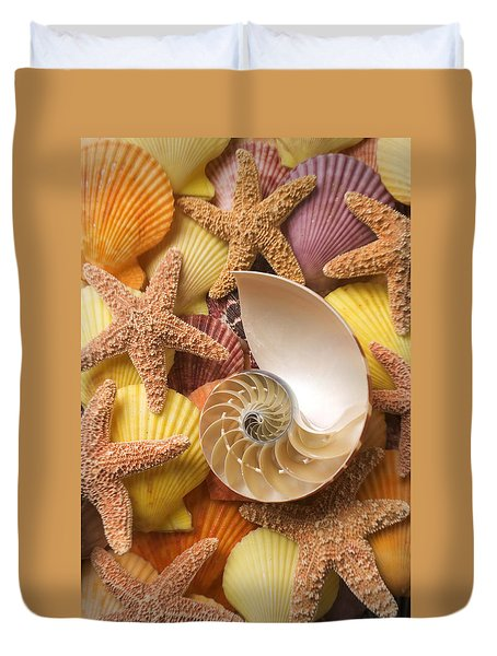 Sea Shells And Starfish Duvet Cover by Garry Gay