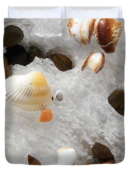 Sea Shells Rocks And Ice Duvet Cover by Matt Suess