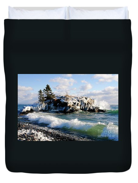 Sea Smoke At Hollow Rock Duvet Cover