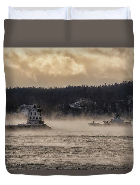 Sea Smoke At Rockland Breakwater Light Duvet Cover