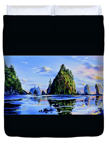 Duvet Cover featuring the painting Sea Stack Serenity by Hanne Lore Koehler