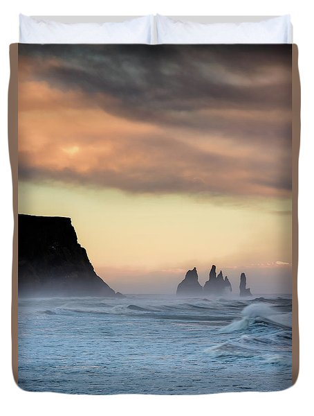 Duvet Cover featuring the photograph Sea Stacks by Allen Biedrzycki
