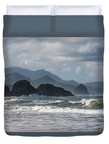 Sea Stacks And Surf Duvet Cover