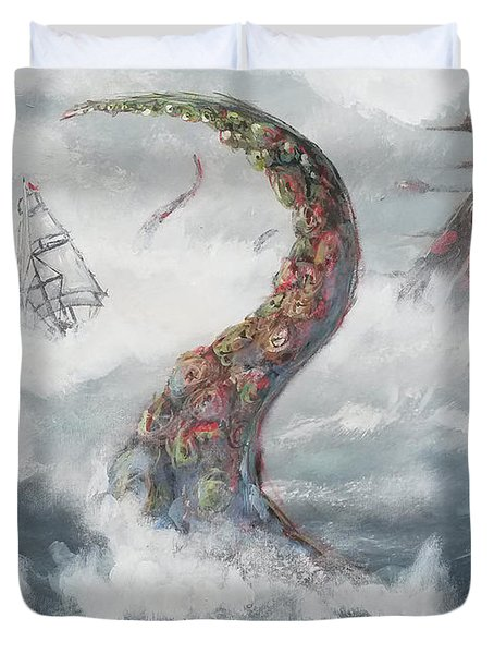 Duvet Cover featuring the painting Sea Stories by Mariusz Zawadzki
