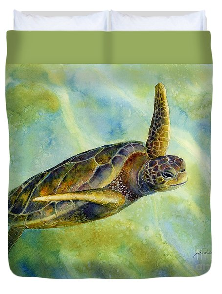 Duvet Cover featuring the painting Sea Turtle 2 by Hailey E Herrera