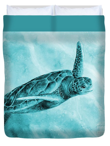 Sea Turtle 2 On Blue Duvet Cover