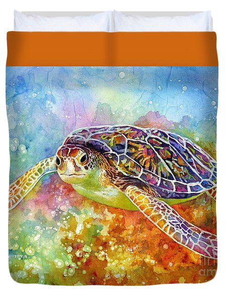 Duvet Cover featuring the painting Sea Turtle 3 by Hailey E Herrera