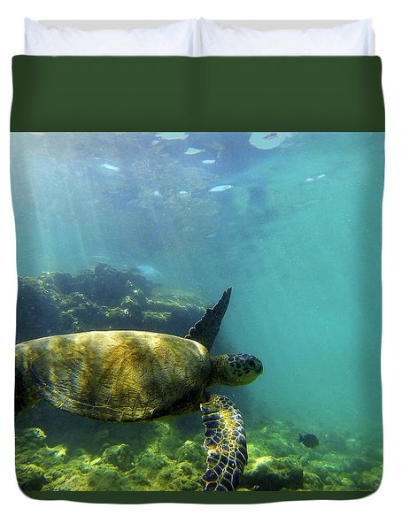 Duvet Cover featuring the photograph Sea Turtle #5 by Anthony Jones