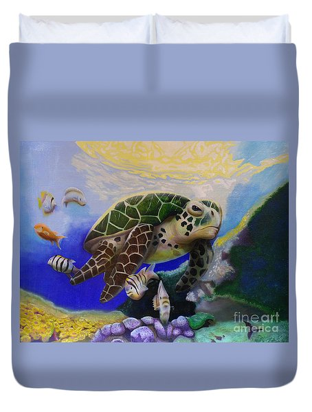 Sea Turtle Acrylic Painting Duvet Cover