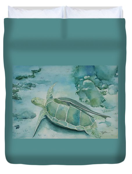 Sea Turtle And Friend Duvet Cover