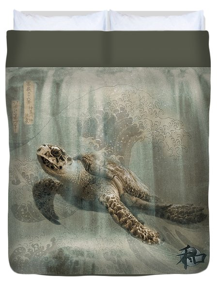 Sea Turtle Great Wave Duvet Cover by Karla Beatty