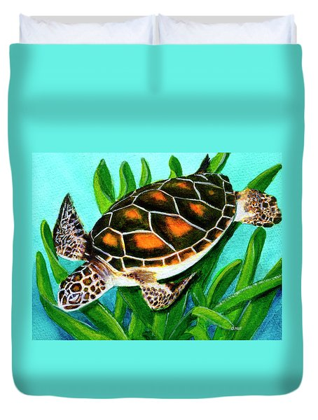 Sea Turtle Honu #352 Duvet Cover by Donald k Hall