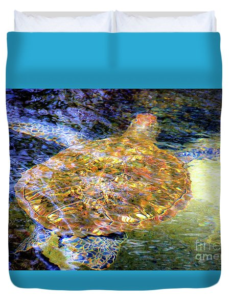 Duvet Cover featuring the photograph Sea Turtle In Hawaii by D Davila