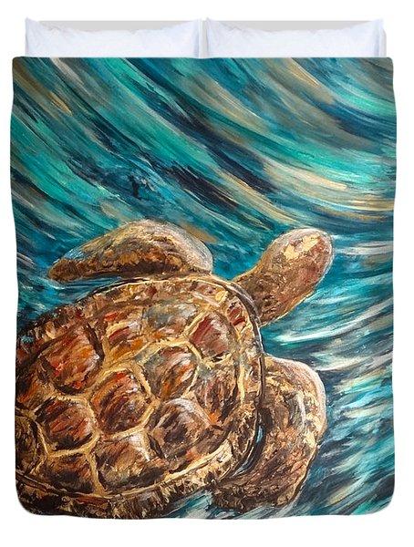 Sea Turtle Wave Guam Duvet Cover