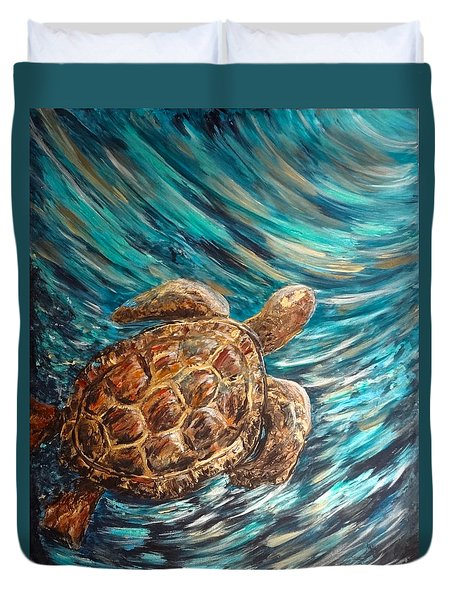 Sea Turtle Wave Guam Duvet Cover