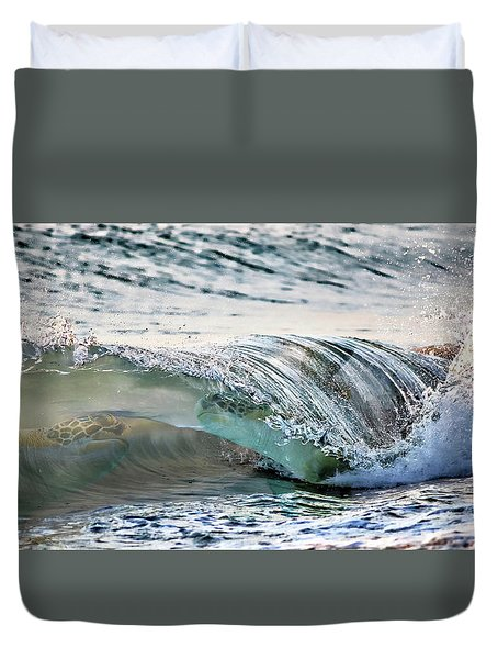 Sea Turtles In The Waves Duvet Cover by Barbara Chichester
