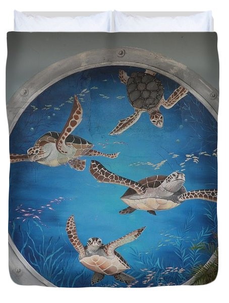 Sea Turtles Duvet Cover by Rob Hans