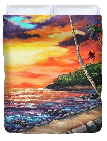 Duvet Cover featuring the painting Sea Wall Lahaina by Darice Machel McGuire