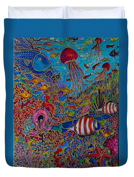 Duvet Cover featuring the painting Sea World by Rae Chichilnitsky