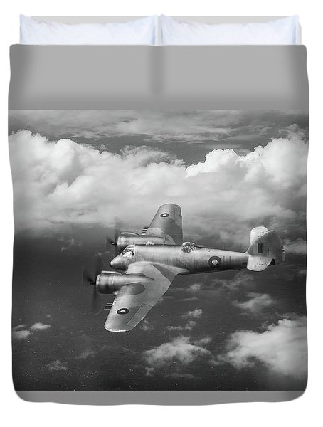 Duvet Cover featuring the photograph Seac Beaufighter Bw Version by Gary Eason