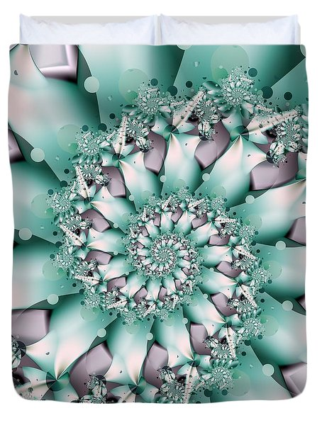 Duvet Cover featuring the digital art Seafoam Spring by Michelle H