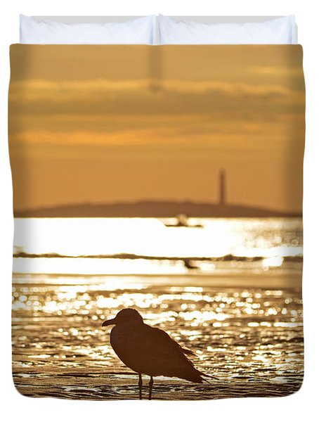 Seagull Admiring Thacher Island Gloucester Ma Good Harbor Beach Duvet Cover