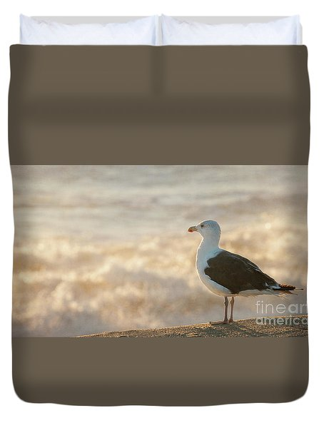 Seagull At Sunrise Duvet Cover