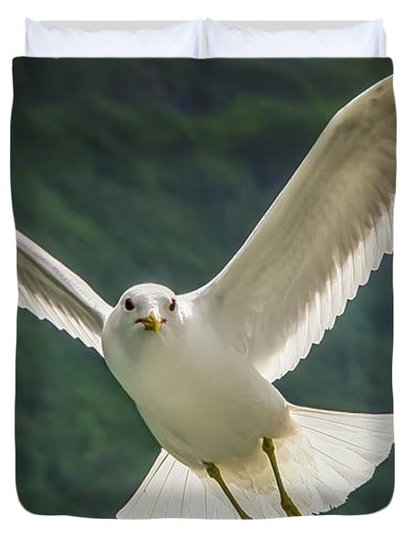 Seagull At The Fjord Duvet Cover