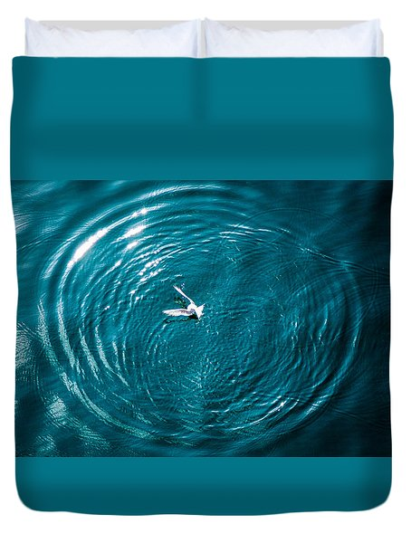 Duvet Cover featuring the photograph Seagull Chasing Bait by Gregory Daley  PPSA