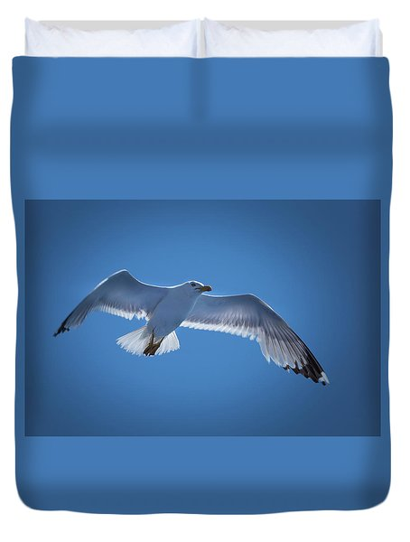 Duvet Cover featuring the photograph Seagull by Davor Zerjav