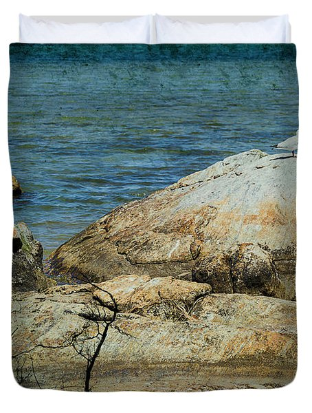 Seagull On A Rock Duvet Cover