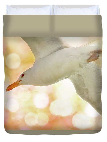 Seagull On Pink And Yellow Sky Duvet Cover
