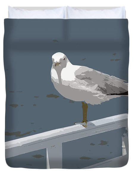 Seagull On The Rail Duvet Cover