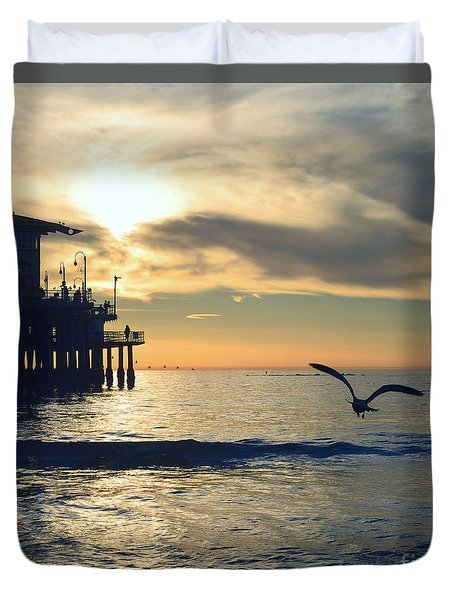 Seagull Pier Sunrise Seascape C2 Duvet Cover