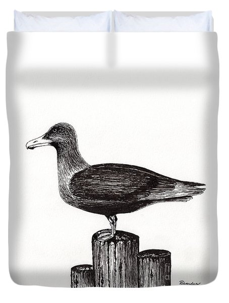 Seagull Portrait On Pier Piling E3 Duvet Cover by Ricardos Creations