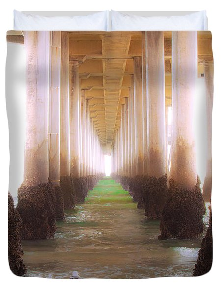 Duvet Cover featuring the photograph Seagull Under The Pier by Jerry Cowart