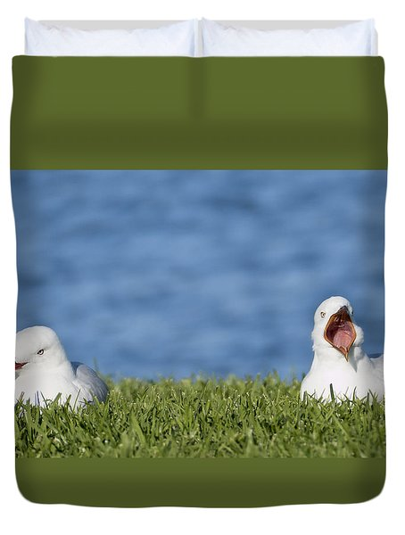 Duvet Cover featuring the photograph Seagulls Afternoon Nap 01 by Kevin Chippindall