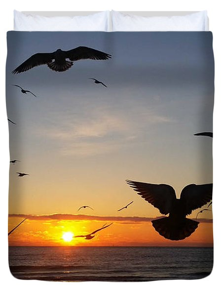 Seagulls At Sunrise Duvet Cover