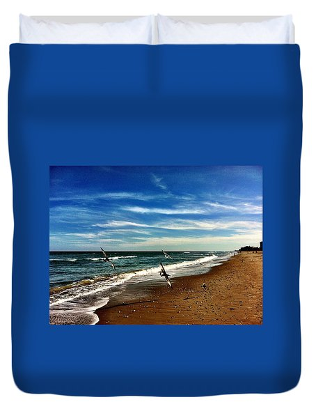 Seagulls At The Beach Duvet Cover