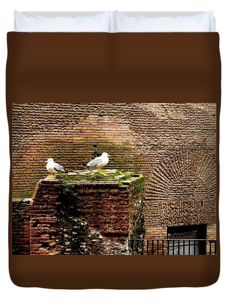 Seagulls By The Pantheon Duvet Cover by Melinda Dare Benfield