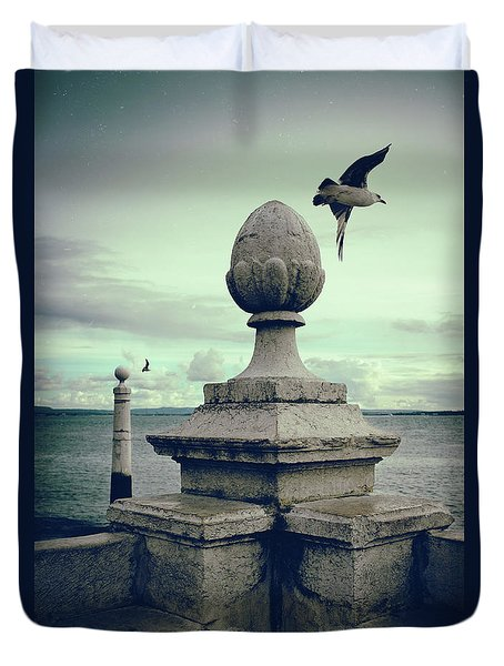 Duvet Cover featuring the photograph Seagulls In Columns Dock by Carlos Caetano
