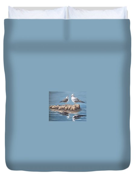 Seagulls In The Sea Duvet Cover