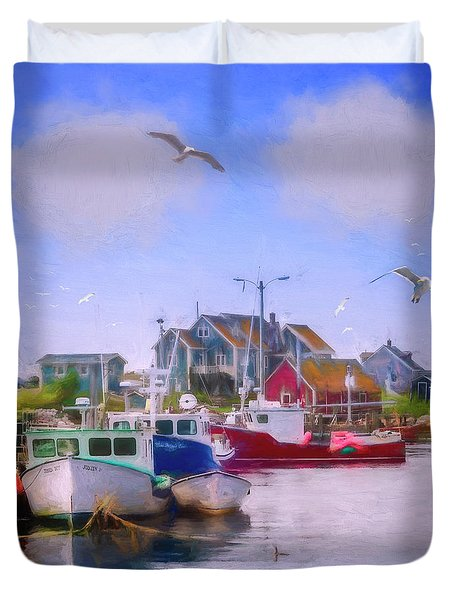 Seagulls Of Peggys Cove Duvet Cover