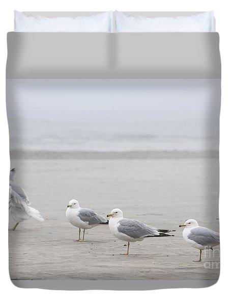 Seagulls On Foggy Beach Duvet Cover