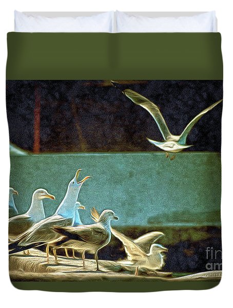 Seagulls On The Beach Duvet Cover