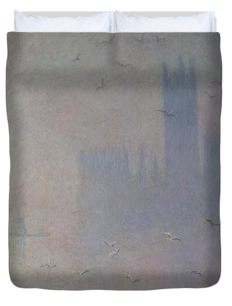 Seagulls Over The Houses Of Parliament Duvet Cover by Claude Monet